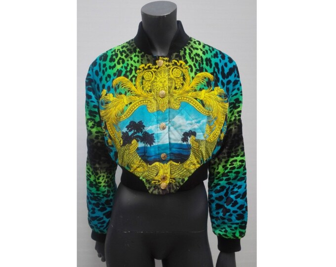 VERSACE for H&M pre-owned multicolor leopard quilted velvet cropped bomber jacket