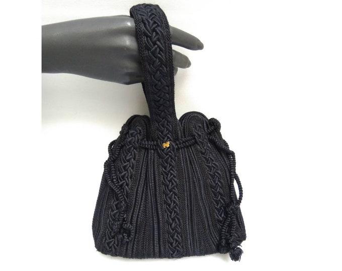 NINA RICCI vintage 80s black passementarie wristlet evening bag