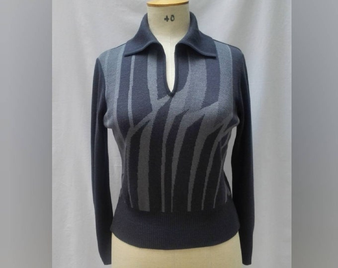 PIERRE CARDIN vintage 60s dark blue v-neck collared sweater