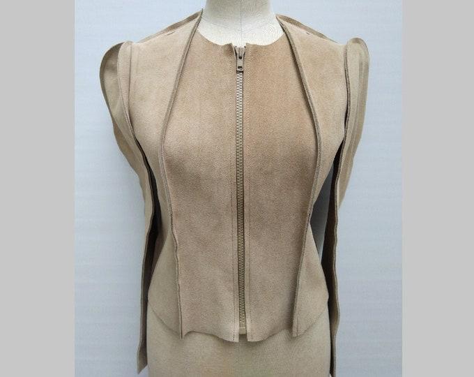 MAISON MARTIN MARGIELA for H&M pre-owned beige suede zipper jacket
