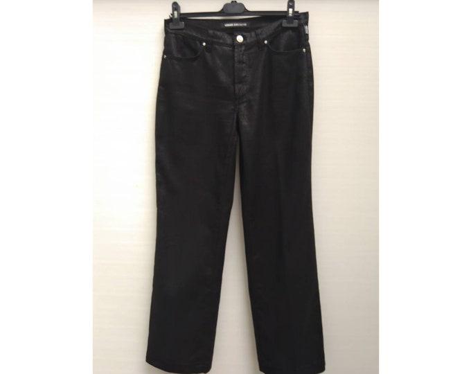 VERSACE JEANS COUTURE vintage 90s woman's black cotton metallic straight leg pants