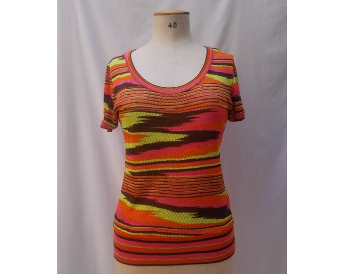 MISSONI SPORT pre-owned neon colors blurry striped knit top