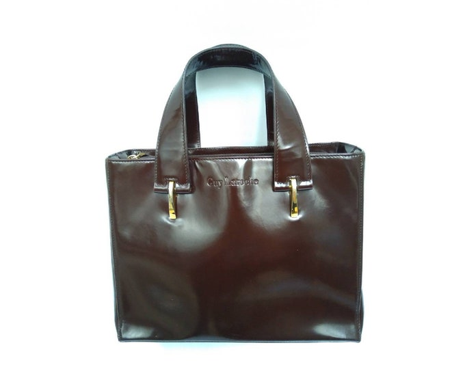 GUY LAROCHE vintage 80s maroon brown patent leather structured handbag