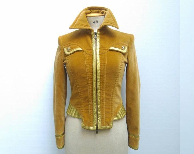 VERSACE JEANS COUTURE vintage 90s mustard yellow and gold padded velvet jacket