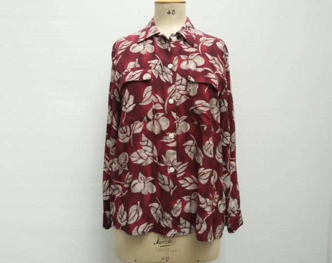 ETIENNE AIGNER vintage 80s burgundy and grey fruit print oversized silk blouse