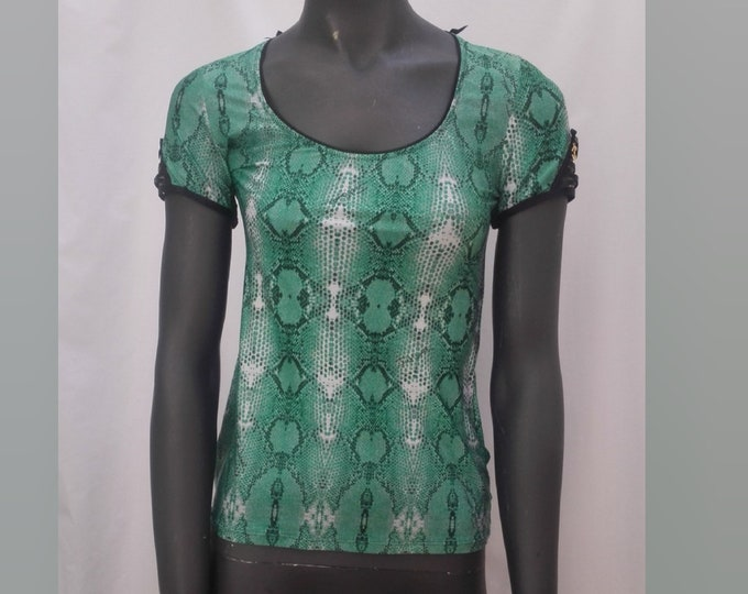 JUST CAVALLI UNDERWEAR pre-owned green snake print top