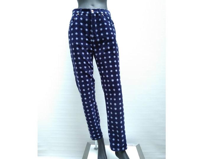 KENZO JEANS vintage 90s high waist blue spotted velvet pants