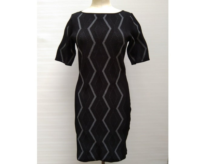 KAREN MILLEN pre-owned black and grey geometric pattern rib knit dress
