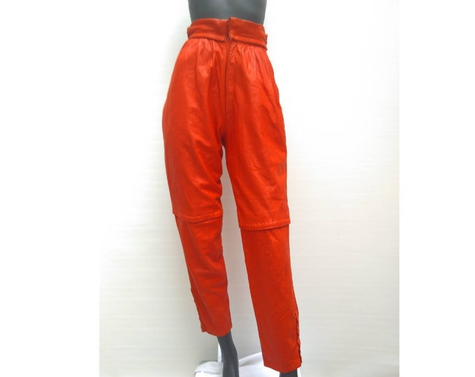 Vintage 80s scarlet red high waist leather pants