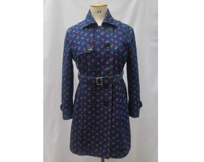 MOSCHINO pre-owned denim look wool cherry print trench coat