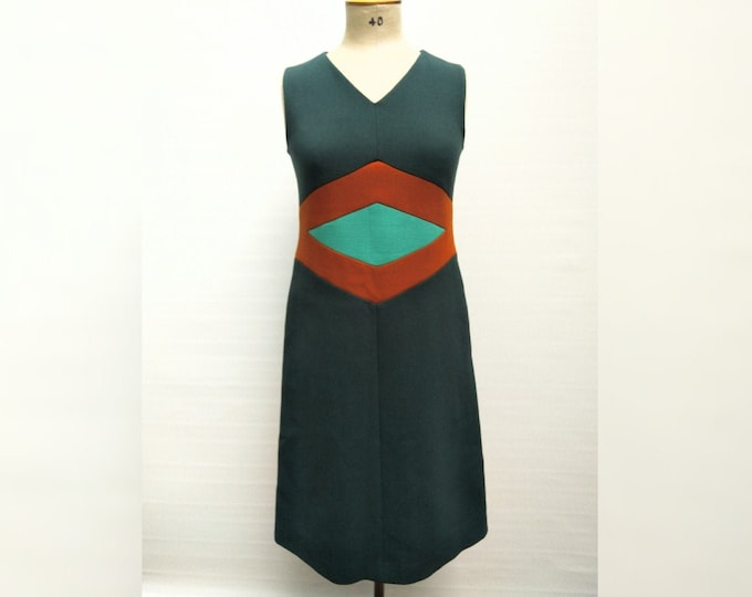 MARNI pre-owned hunter green colorblock wool pinafore dress