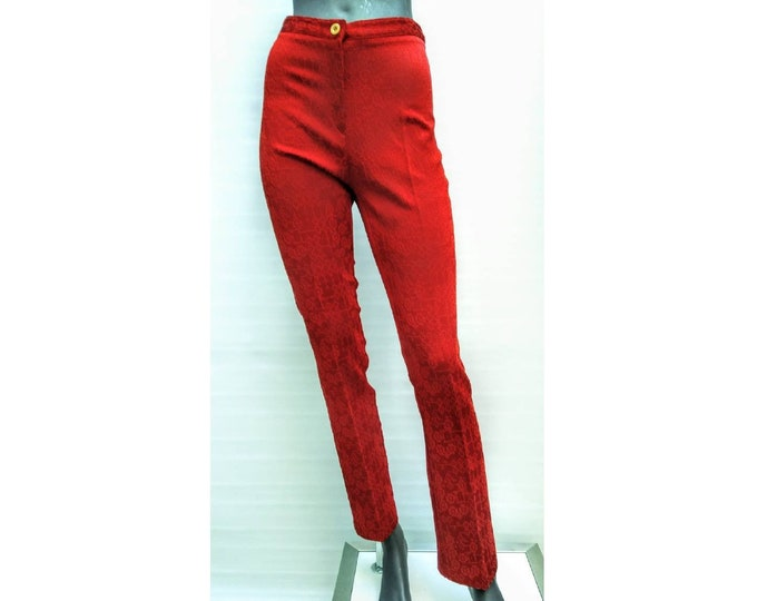 KENZO JUNGLE vintage 90s cranberry red creased cigarette pants