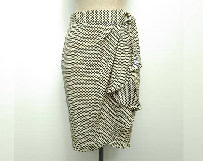 MOSCHINO CHEAP&CHIC vintage 90s cream and black polka dot tulip wrap skirt