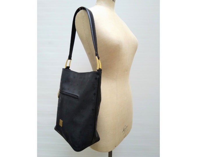 MCM vintage black vinyl logo shoulder bag