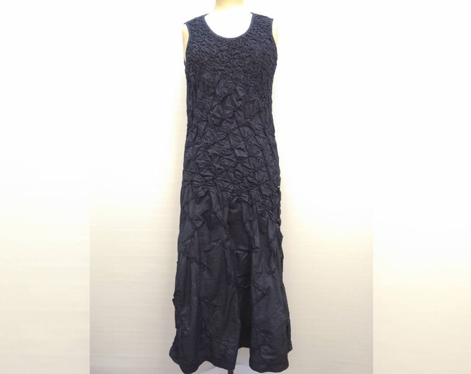KENZO JEANS vintage 90s navy cotton maxi dress with elastic shirring