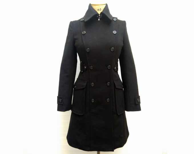 KAREN MILLEN pre-owned black wool double breasted coat