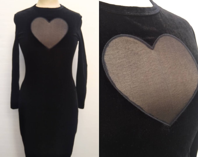 LOLITA LEMPICKA vintage 90s black stretch velvet bodycon dress