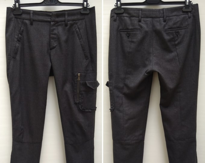 PRADA pre-owned anthracite wool slim cargo pants
