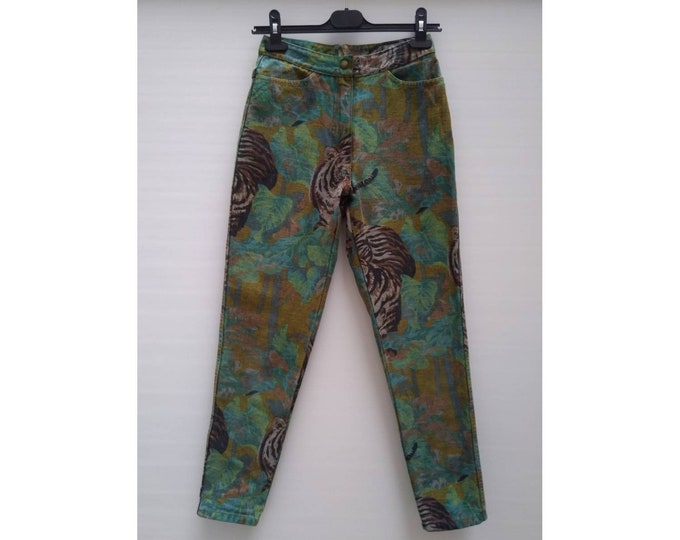KENZO JEANS vintage 80s high waist jungle / tiger print tapered jeans