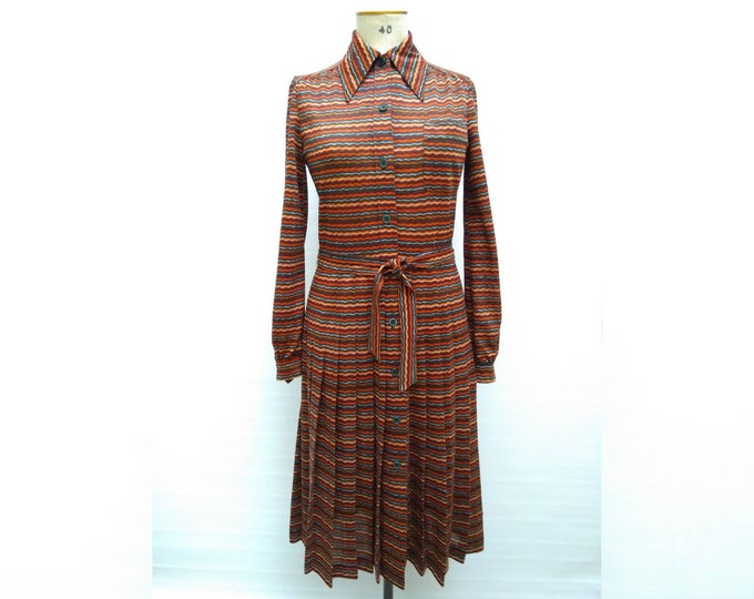 RODIER PARIS vintage 70s multicolor zig zag stripe jersey pleated shirt dress