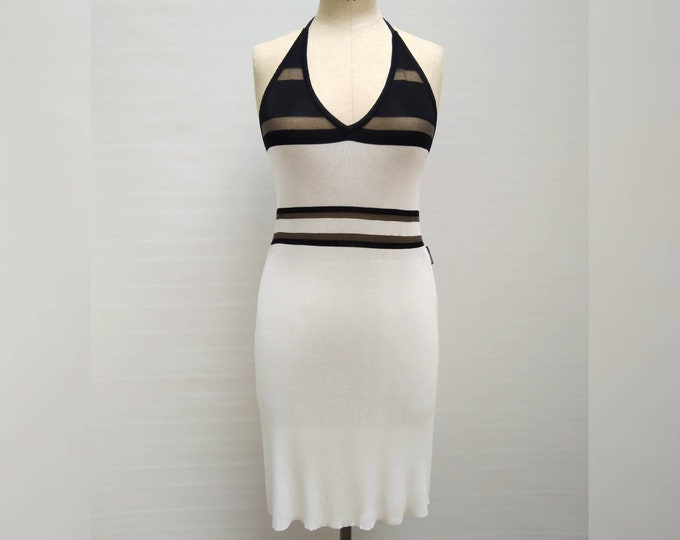 GIANFRANCO FERRE vintage 90s white rayon knit halter dress