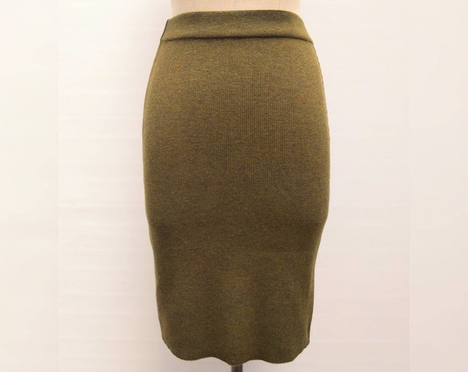 YVES SAINT LAURENT vintage 80s olive green rib knit wool skirt