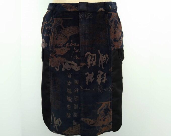 KENZO JEANS vintage 90s black and brown printed velvet pencil skirt