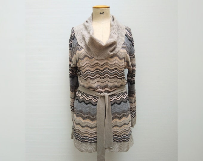 M MISSONI pre-owned zig-zag knit belted cowl neck tunic