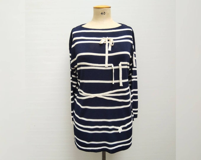 MOSCHINO CHEAP and CHIC vintage 90s navy white striped ribbon applique tunic top