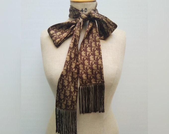 CHRISTIAN DIOR pre-owned brown oblique silk satin skinny scarf