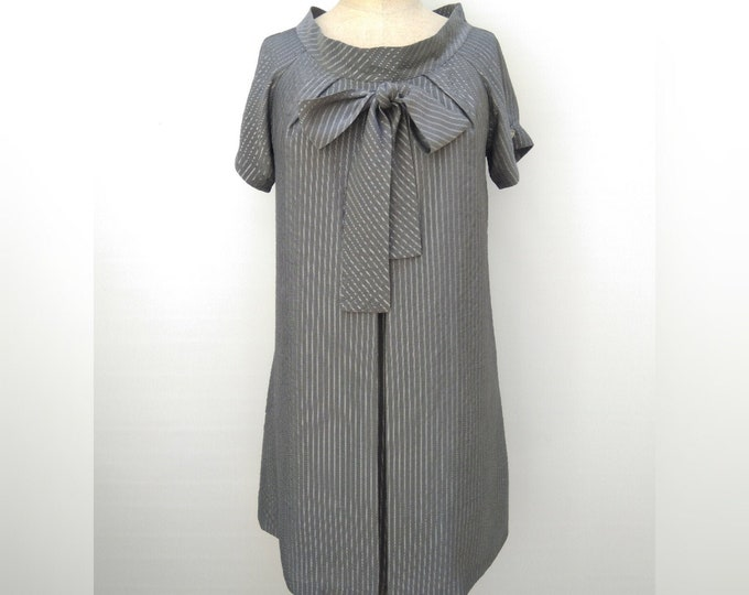 PAUL & JOE pre-owned grey striped silk shift dress with bow