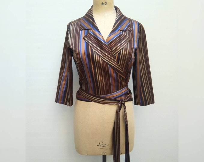 KENZO JUNGLE vintage 90s striped shantung silk wrap blouse