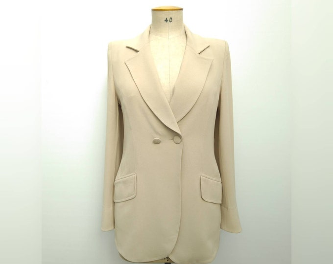 SONIA RYKIEL vintage 90s beige double breasted fitted blazer jacket