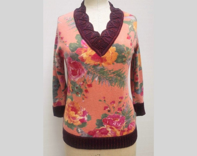 D&G pre-owned floral print V-neck sweater