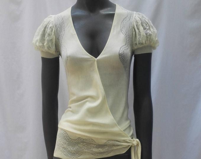 BALENCIAGA ivory silk fine knit wrap cardigan