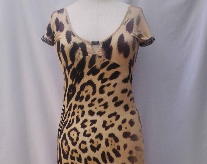JUST CAVALLI leopard print sheath dress