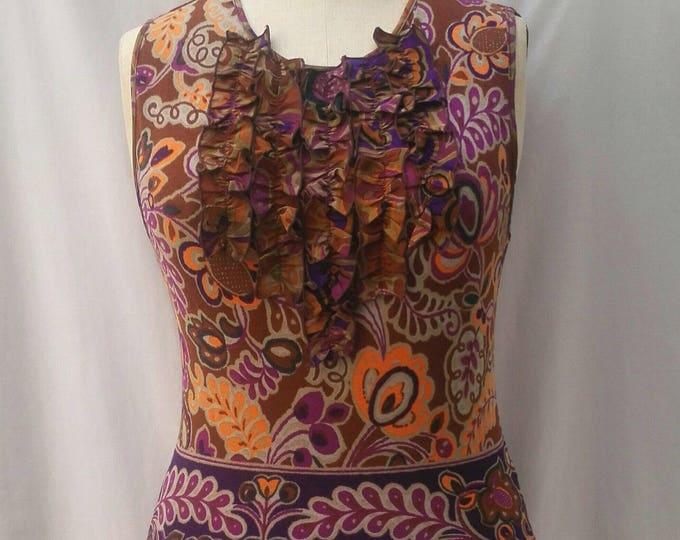 BLUMARINE multicolor printed fine knit tank top with ruffles