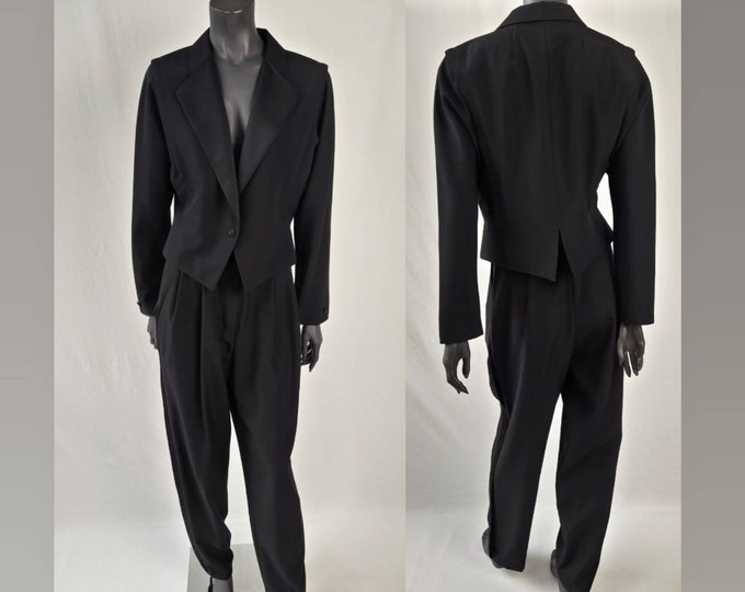 80s vintage black tailored trouser suit by Hucke