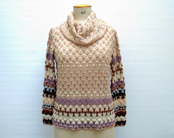 MISSONI pre-owned multicolor 3D flame stitch wool sweater