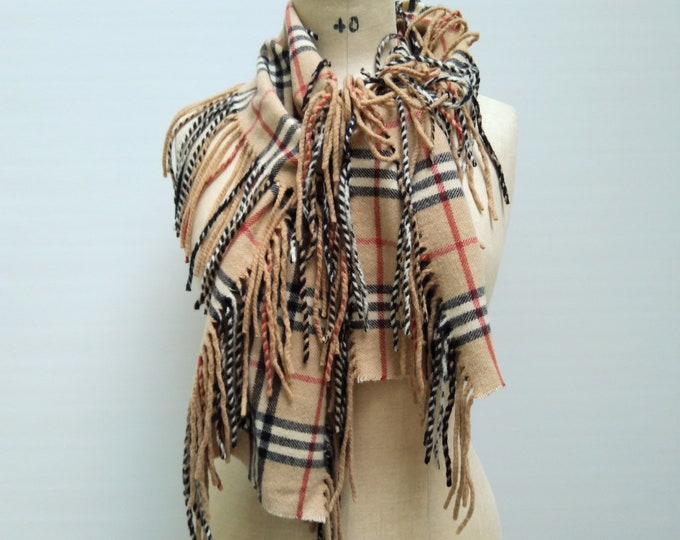 BURBERRY pre-owned cashmere side fringe scarf