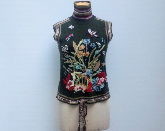 KENZO DEFILE pre-owned runway floral embroidered forest green wool knit sleeveless turtleneck top