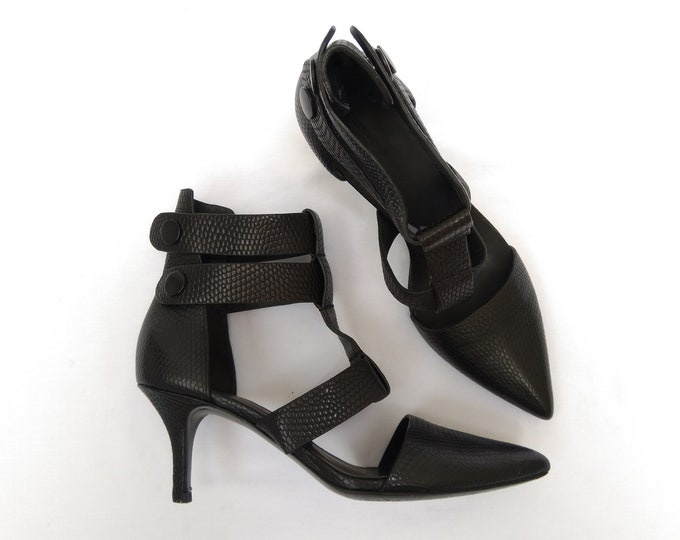 ALEXANDER WANG pre-owned black embossed leather ankle strap pumps