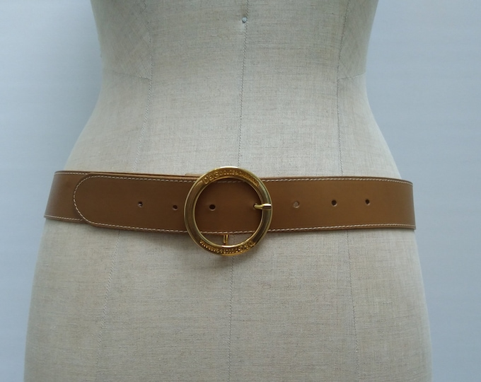 D&G pre-owned caramel leather belt with gold tone buckle