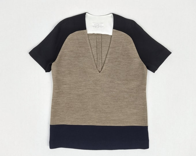SANDRO pre-owned colourblock short sleeved wool top