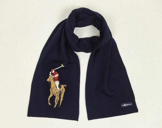 POLO RALPH LAUREN pre-owned men's big pony logo navy wool scarf