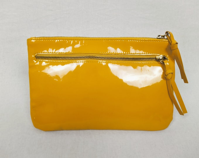 COS pre-owned marigold patent leather clutch