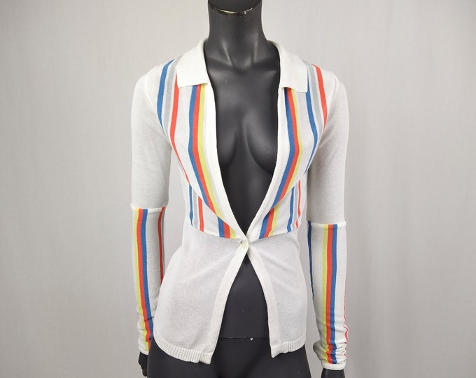 VERSACE JEANS COUTURE pre-owned Y2K striped knit cardigan