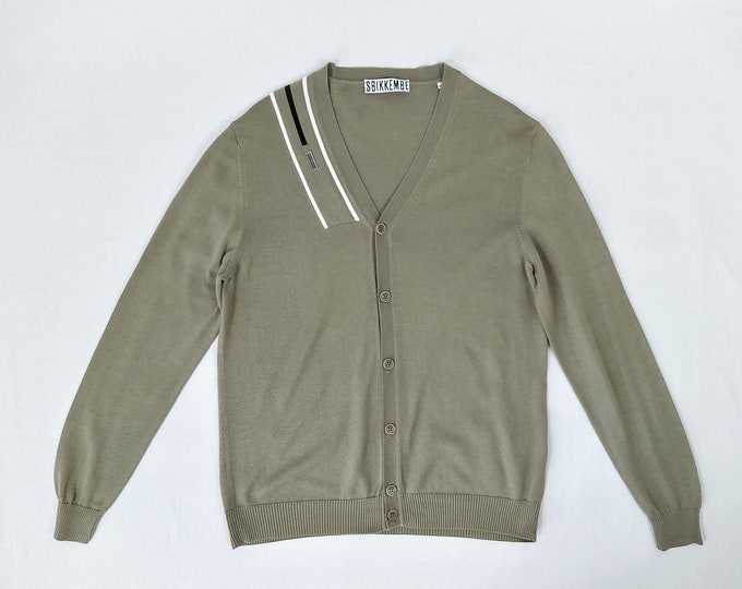 BIKKEMBERGS pre-owned men's khaki cotton cardigan