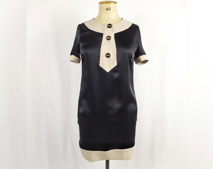 LOVE MOSCHINO pre-owned black satin shift dress