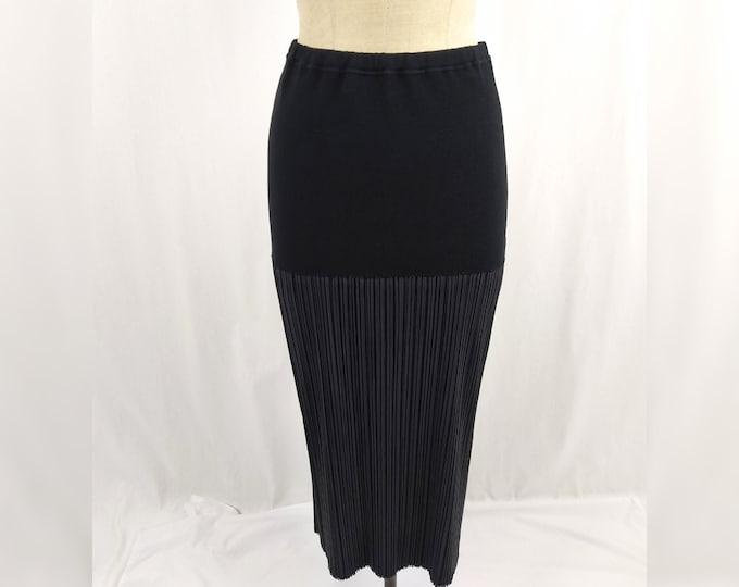 ISSEY MIYAKE vintage 90s long black pleated skirt